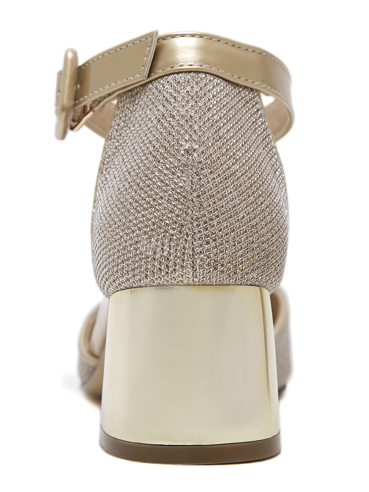 Zapatos de tacón medio de puntera cuadrada de tacón gordo estilo modernopara pasar por la noche de tela brillante GdUpa