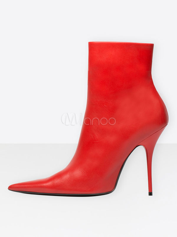 Pointed Toe Booties Red Stiletto Kid Skin Zipper Up Women's High Heel Boots