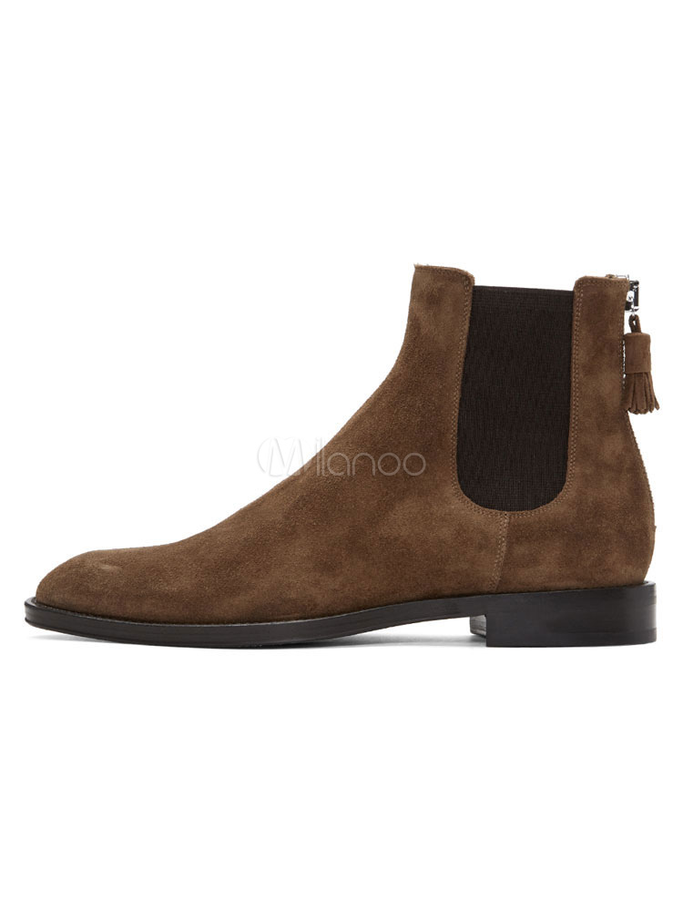 ff3515b0adc Brown Ankle Boots Suede Leather Men's Round Toe Zip Up Chelsea Boots