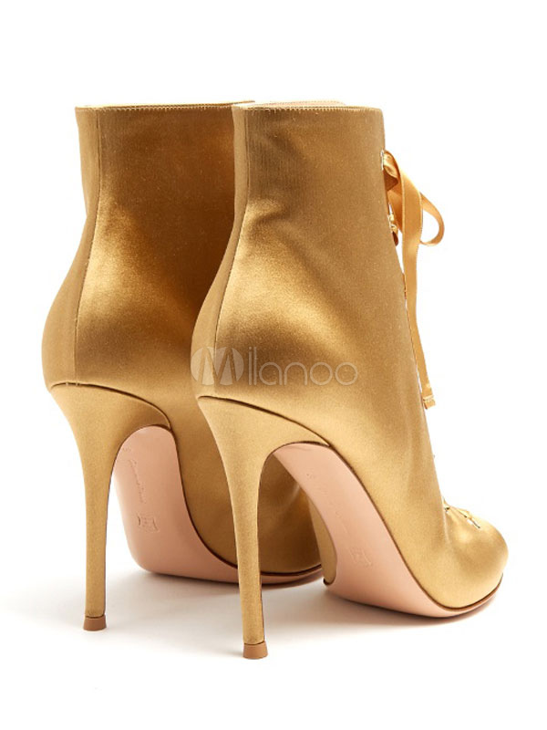 d7c79b39e32 Satin Sandal Boots Peep Toe Lace Up Stiletto Women s Golden High Heel Boots -No.