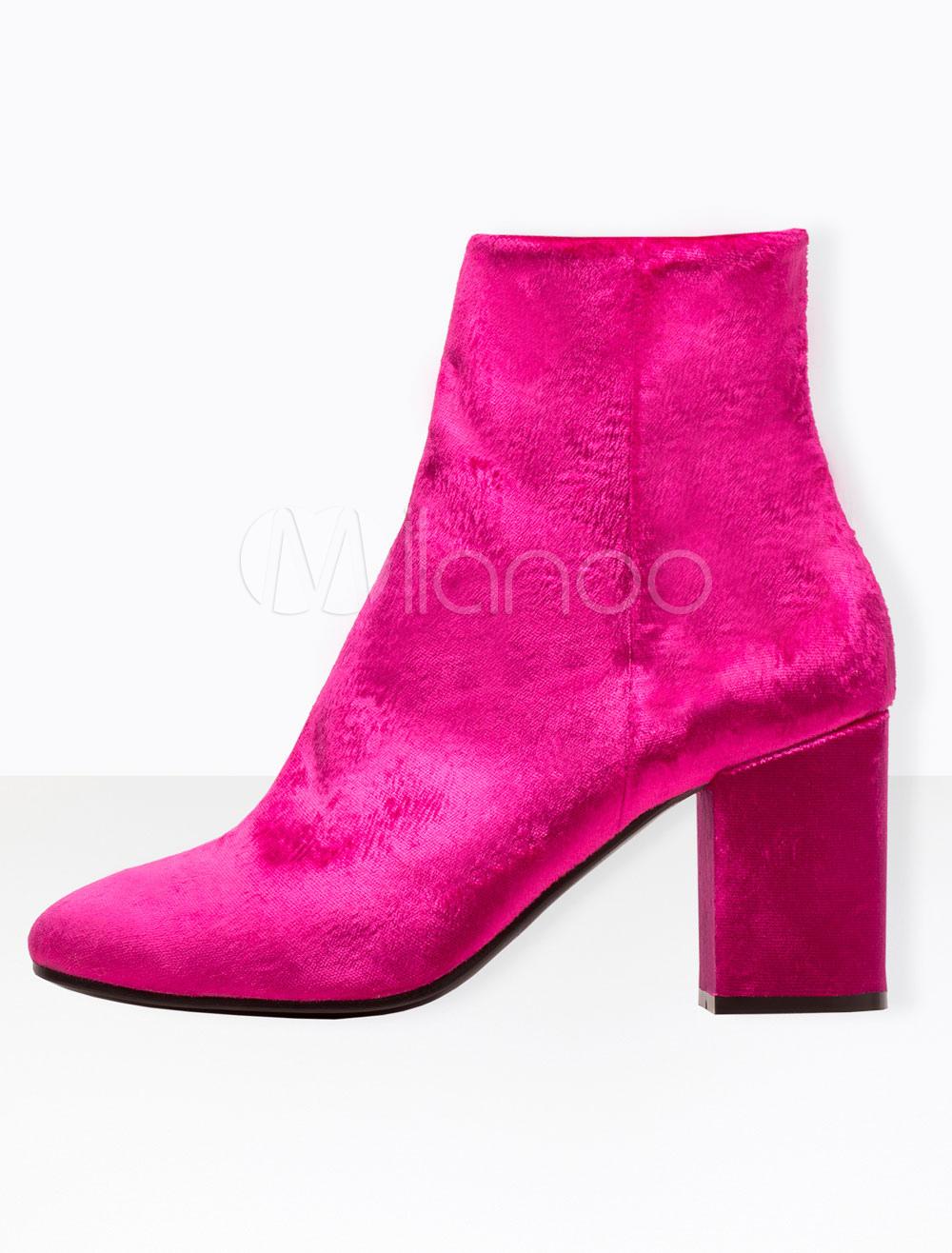Buy Rose Ankle Boots High Heel Women's Velvet Pointed Toe Chunky Heel Booties for $94.49 in Milanoo store