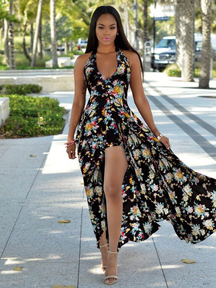 Boho Maxi Dress V Neck Halter Split Floral Print Women's Summer Long Dresses