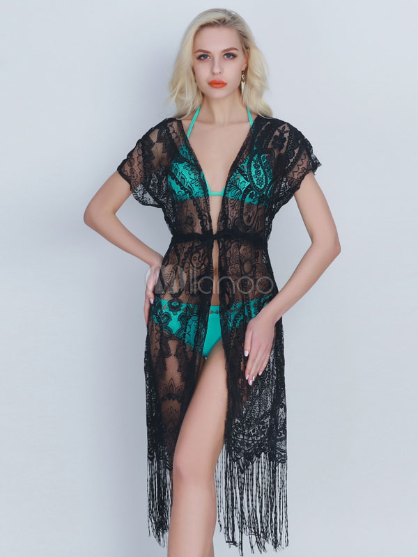 43b48f950978b Black Cover Ups Fringes Plunging Neckline Sheer Open Front Women's Acrylic  ...