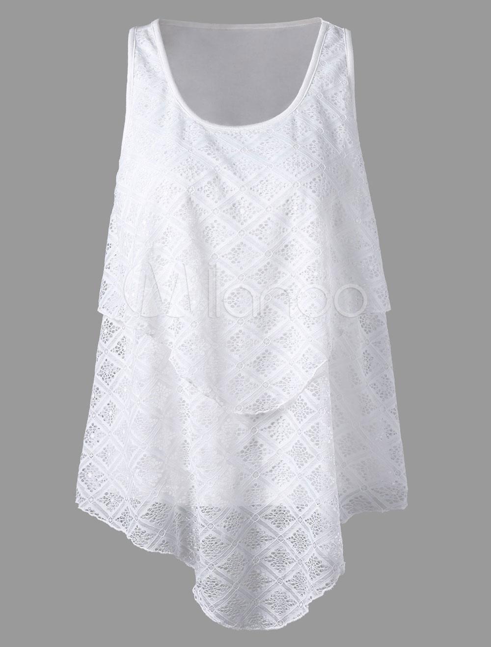 White Cami Top U Neck Sleeveless Lace Chiffon Layered Women's Summer Tops