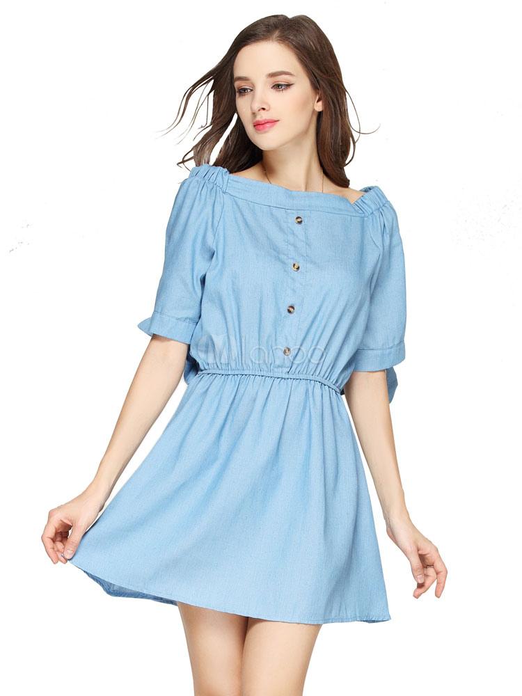 c6554e88fa95 Denim Skater Dress Light Blue Off The Shoulder Half Sleeve Women s Summer  ...