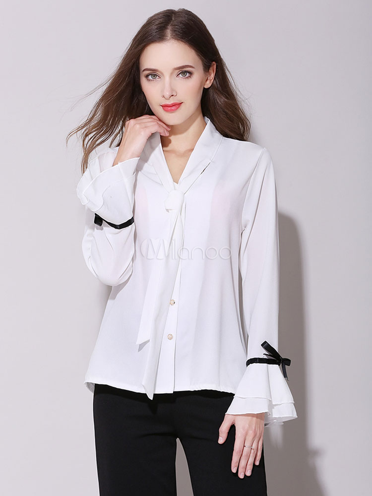 9aea9f5b342 Белые шифоновые блузки с коротким рукавом с дизайном шеи с двумя  тонами-No.1 ...