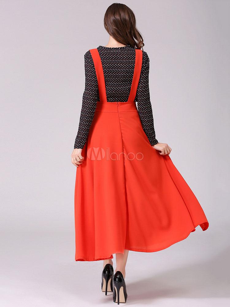 46c9a40fd9f Orange Women s Skirt Chiffon A Line Long Jumper Skirt - Milanoo.com