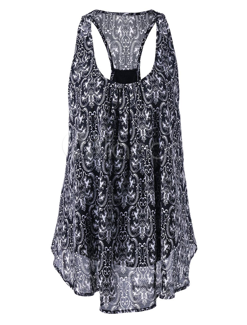 Black Tank Top U Neck Sleeveless Floral Print Layered Asymmetrical Women's Summer Tops