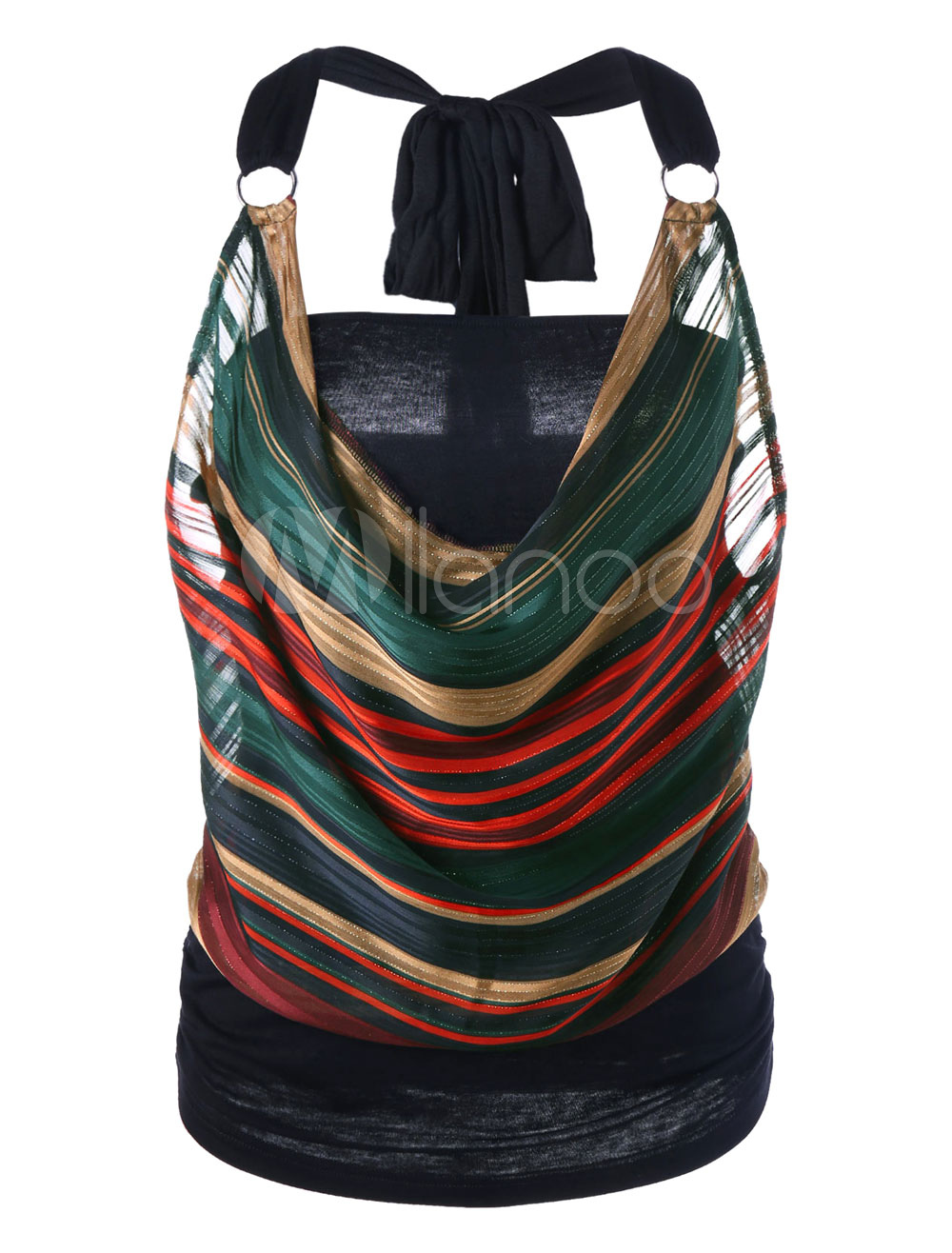 Black Cami Top Halter Sleeveless Chiffon Striped Layered Hoop Women's Casual Tops Cheap clothes, free shipping worldwide