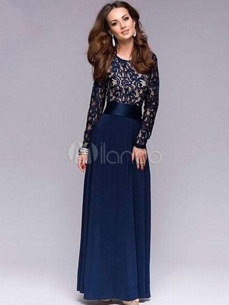 Imagenes de vestidos largos azul marino