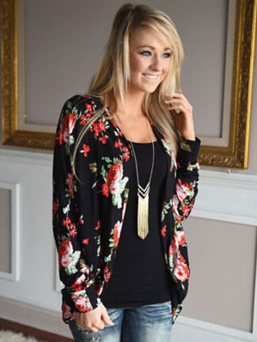 Black Cardigan Women Floral Print Draped Long Sleeve Jacket Cheap clothes, free shipping worldwide