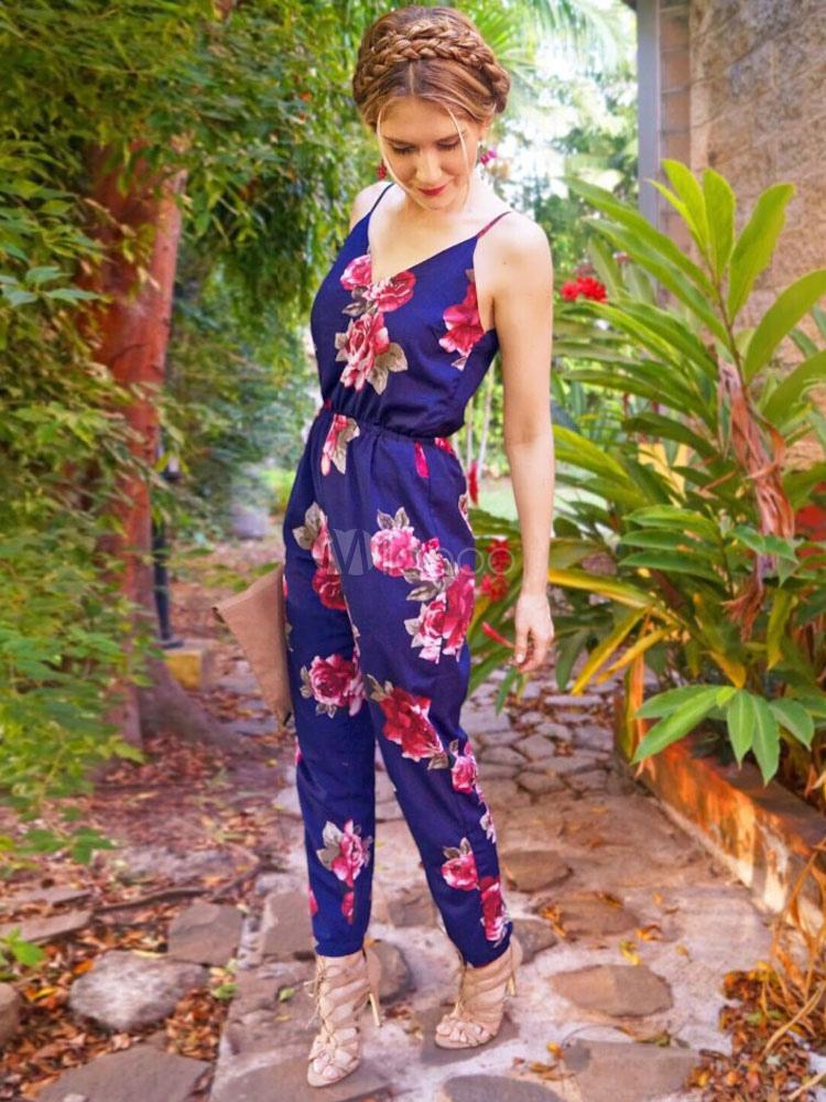 Buy Blue Summer Jumpsuit V Neck Floral Print Backless Women's Jumpsuit for $26.99 in Milanoo store