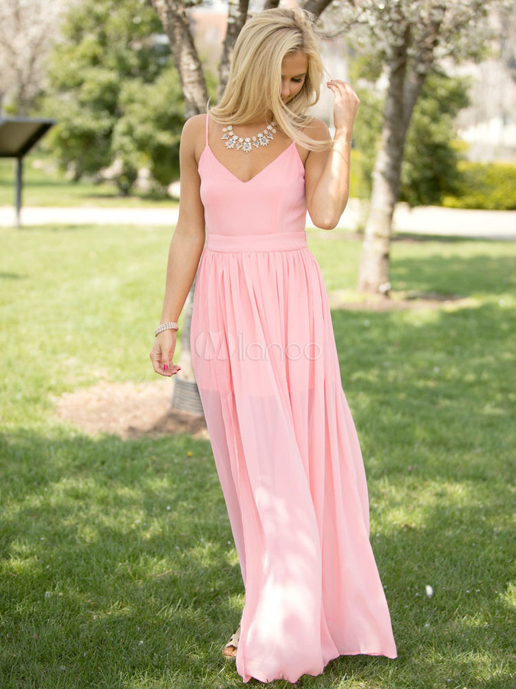 Buy Maxi Dress Women V Neck Chiffon Pink Split Backless Slip Dresses for $26.99 in Milanoo store