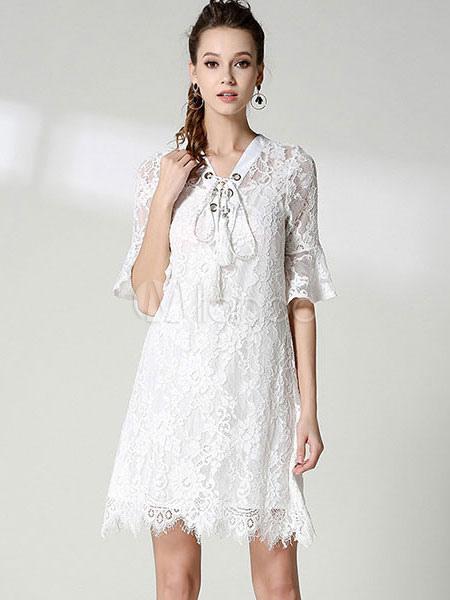 Buy White Lace Dress V Neck Half Sleeve Semi Sheer Women's Summer Dresses for $47.49 in Milanoo store