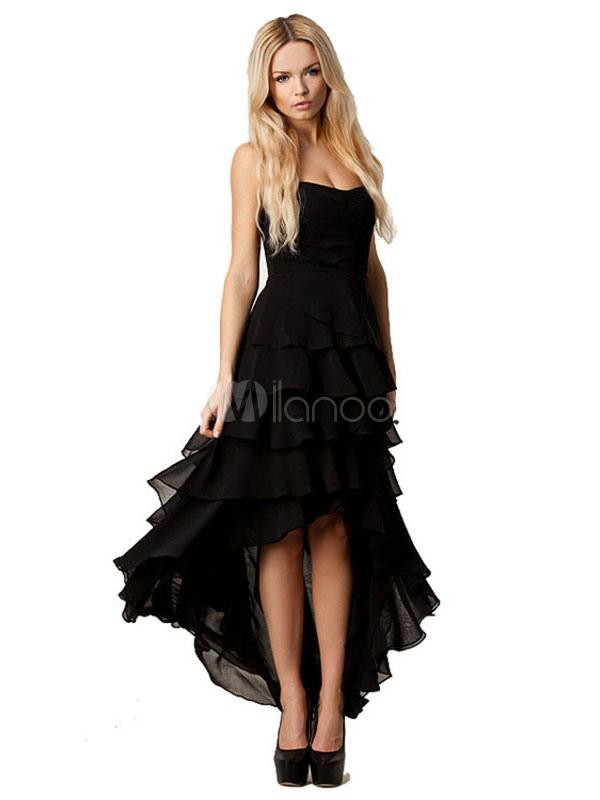 a1cbe3c16c78 Vestito lungo nero di poliestere senza spalline smanicato multistrato  monocolore con fondo asimmetrico per ragazze ...