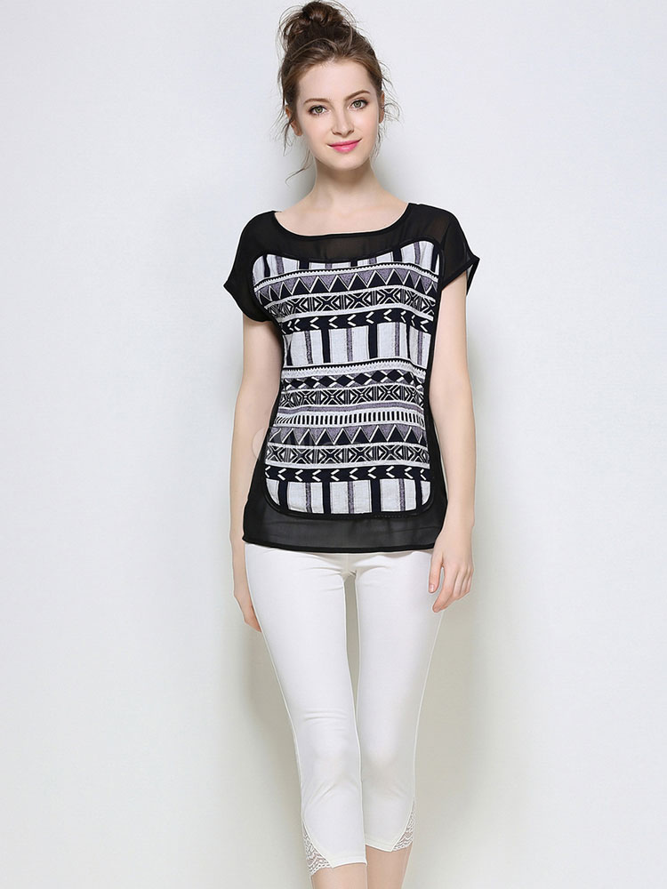 Buy Black Cotton T Shirt Geometric Print Short Sleeve Round Neck Women's Stylish Tee Top for $28.49 in Milanoo store
