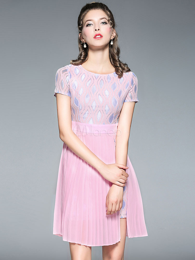 24f38ae5a8 Pink Skater Dress Round Neck Wavy Striped Patchwork Short Sleeve Women s  Short ...