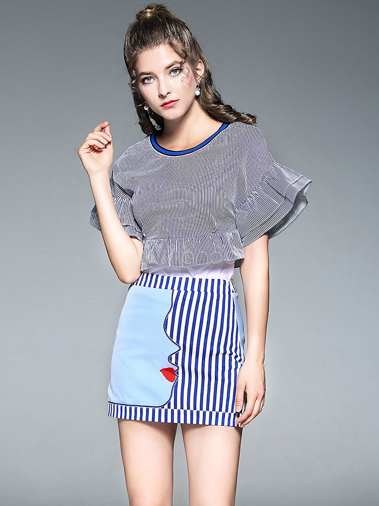 e418bbbd616 Blue Skirt Set Women's Round Neck Bell Sleeve Striped Top With Patchwork  Mini Skirt