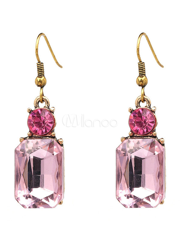 2944f9b18101 Pendientes de metal con cristal estilo moderno Pendientes para mujer para fiesta  Cuadrados -No.