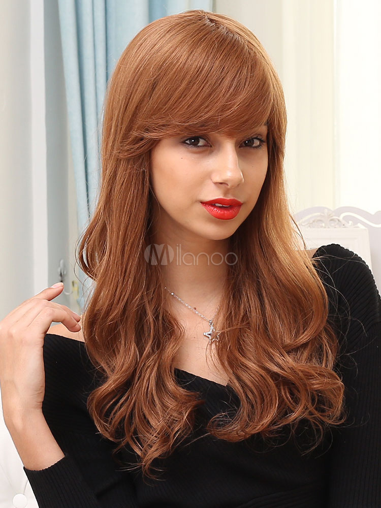 Human Hair Wigs Light Brown Long Curly Hair Wigs With Side Bangs