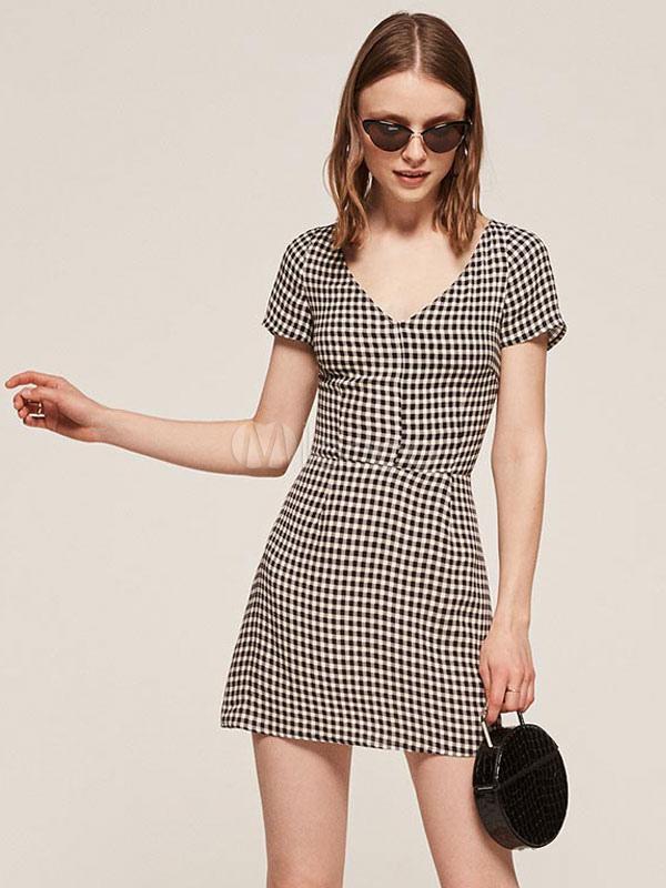 Plaid Black Dresses Short Sleeve V Neck Women's Summer Dresses