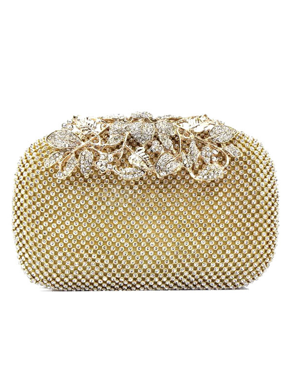 Buy Wedding Clutch Bags Bridal Gold Rhinestones Beading Evening Bags for $35.99 in Milanoo store