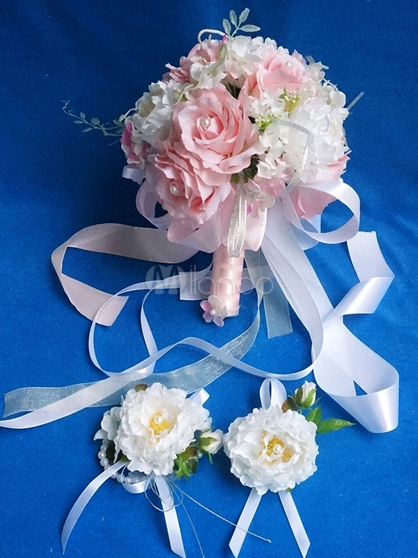 Buy Wedding Bouquet Set Pink Silk Flowers Pearl Ribbons Bridal Bouquet Prom Corsage And Boutonniere for $54.44 in Milanoo store