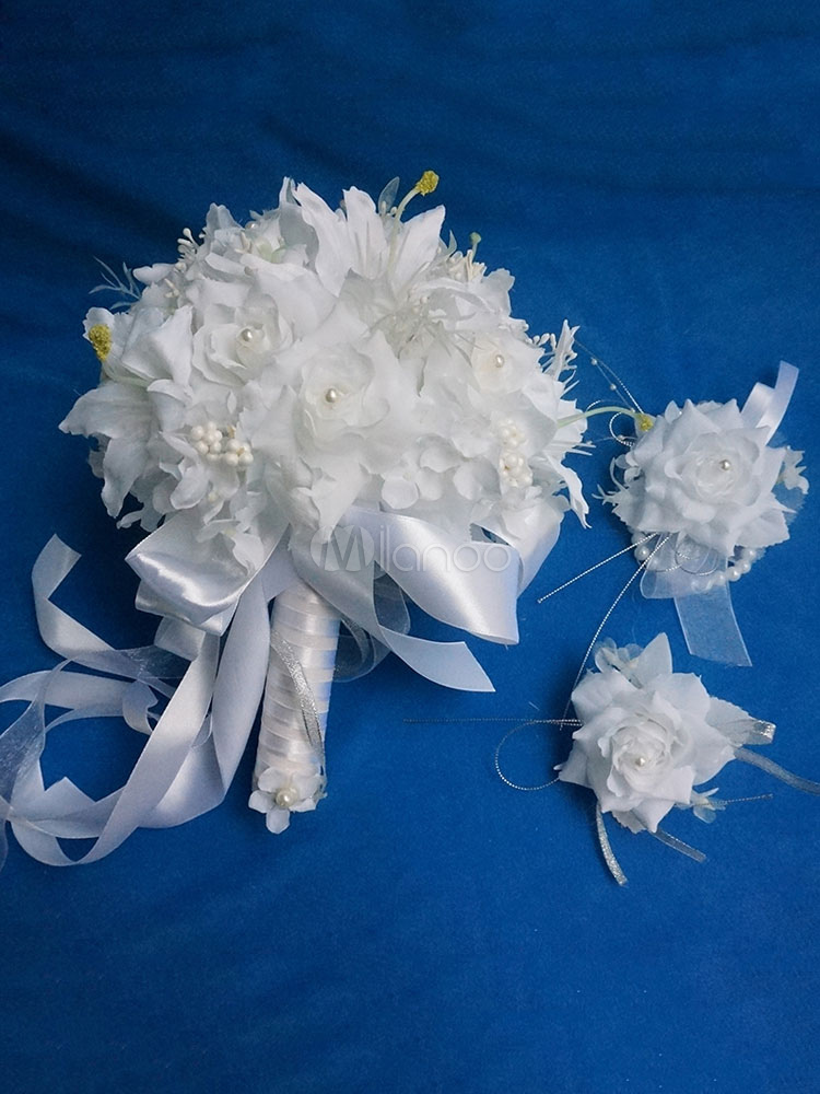 Buy Wedding Bouquet Set White Silk Flowers Pearl Bridal Bouquet Prom Corsage And Boutonniere for $49.49 in Milanoo store