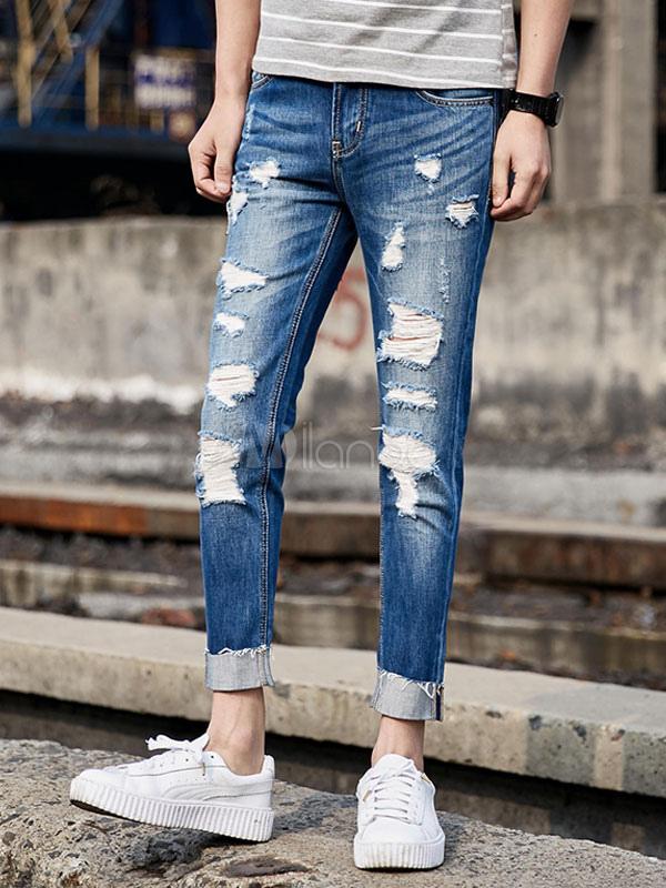 Jeans da uomo blu chiari monocolore casuale jeans uomo lungi al polpaccio in denim