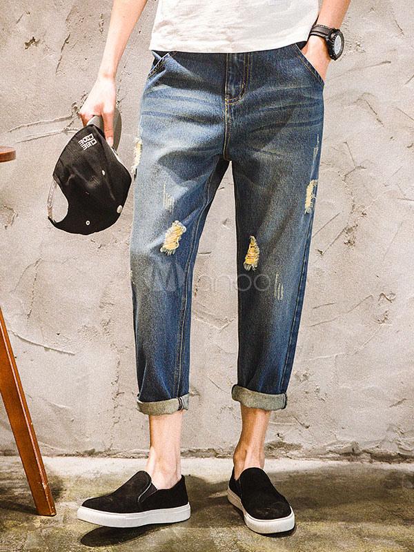 Jeans da uomo al polpaccio lungi blu chiari in denim jeans monocolore casual autunno