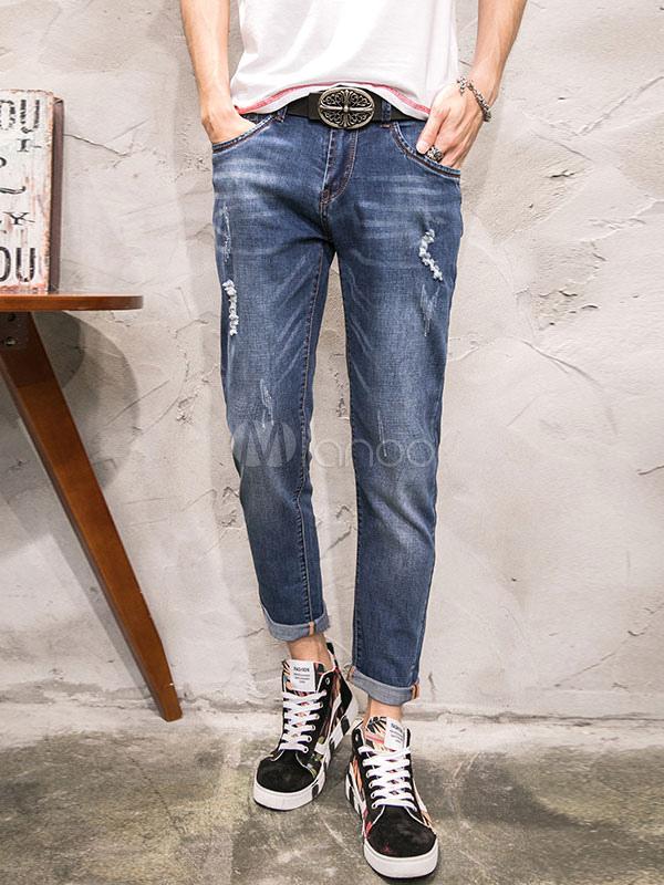 Jeans uomo al polpaccio lungi blu chiari in denim jeans monocolore casual autunno