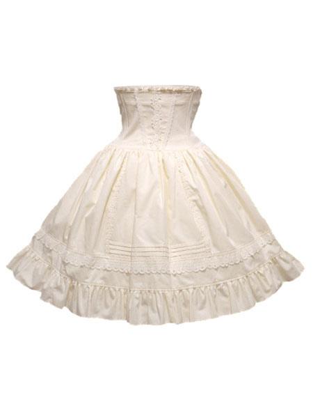 Classic Lolita Skirt SK Cotton Ruffles Two Tone High Rise Lolita Skirt