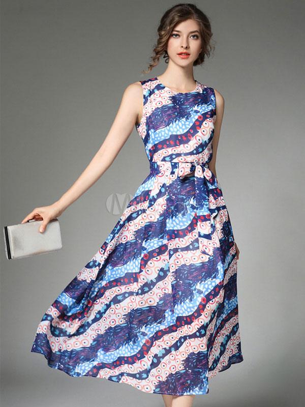 watch 19844 b06b3 Vestiti lunghi da donna a maniche lunghe in chiffon blu profondo blu  vestito di Maxi di estate