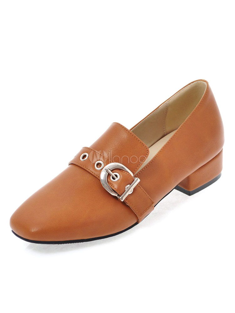 Buy Light Brown Pumps Square Toe Bukled Detail Chunky Heel Women's Slip On Pump Shoes for $30.39 in Milanoo store