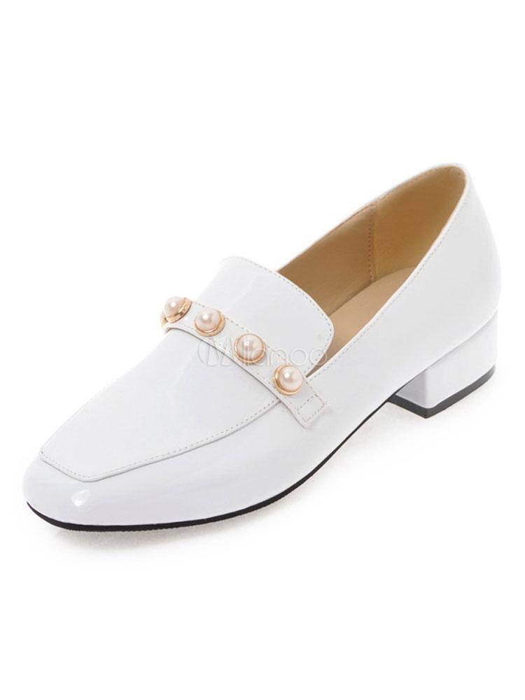Zapatos Mocasín de puntera cuadrada slip-on de tacón gordo Color liso con perlas para pasar por la noche estilo moderno para mujer 1A7gbI
