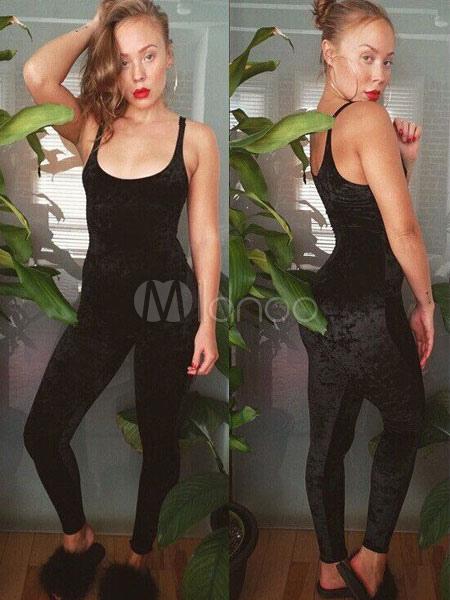 Buy Women's Rose Jumpsuit Velvet U Neck Sleeveless Slim Fit Skinny Leg Jumpsuit for $26.99 in Milanoo store