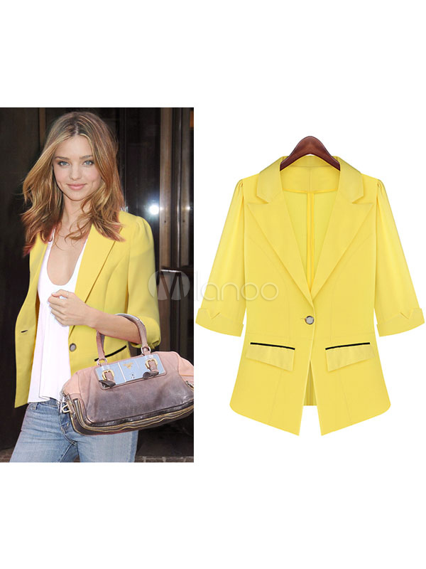 Women Blazer Yellow Half Sleeve Notch Collar Sexy Jacket Cheap clothes, free shipping worldwide