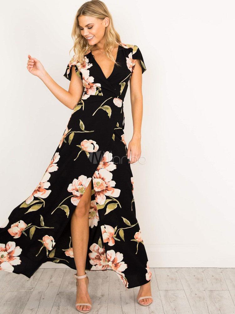 Black Maxi Dress V Neck Short Sleeve Floral Print Split Women Tea Dress