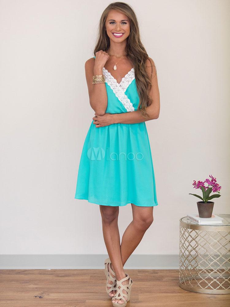Buy Women's Skater Dress Lace Patchwork Sleeveless Backless Summer Slip Dresses for $26.99 in Milanoo store