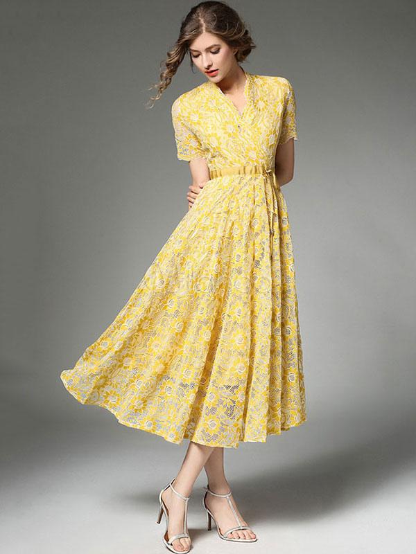 ef09c53b4 فستان ماكسي أصفر الخامس الرقبة الدانتيل قصيرة الأكمام التعادل مخصر المرأة  فساتين طويلة-No.