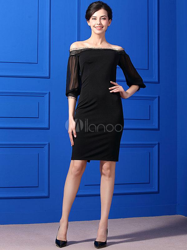 f8d8af526900 Black Bodycon Dress Lace Off The Shoulder Balloon Sleeve Ruffled Split  Women's Summer Dresses- ...