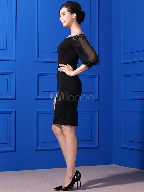 4a86e36e0417 ... Black Bodycon Dress Lace Off The Shoulder Balloon Sleeve Ruffled Split  Women's Summer Dresses- ...