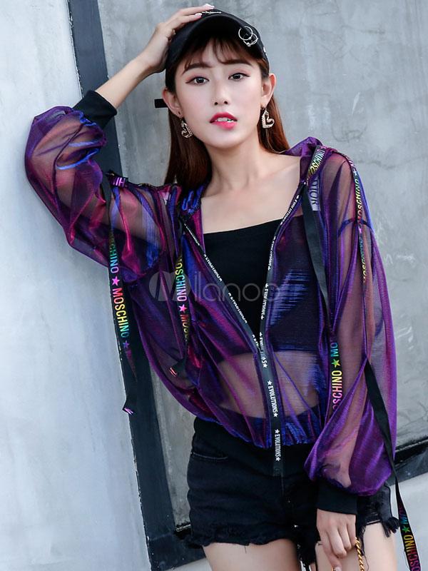Women Bomber Jacket Hooded Long Sleeve Tulle Sheer Short Jackets