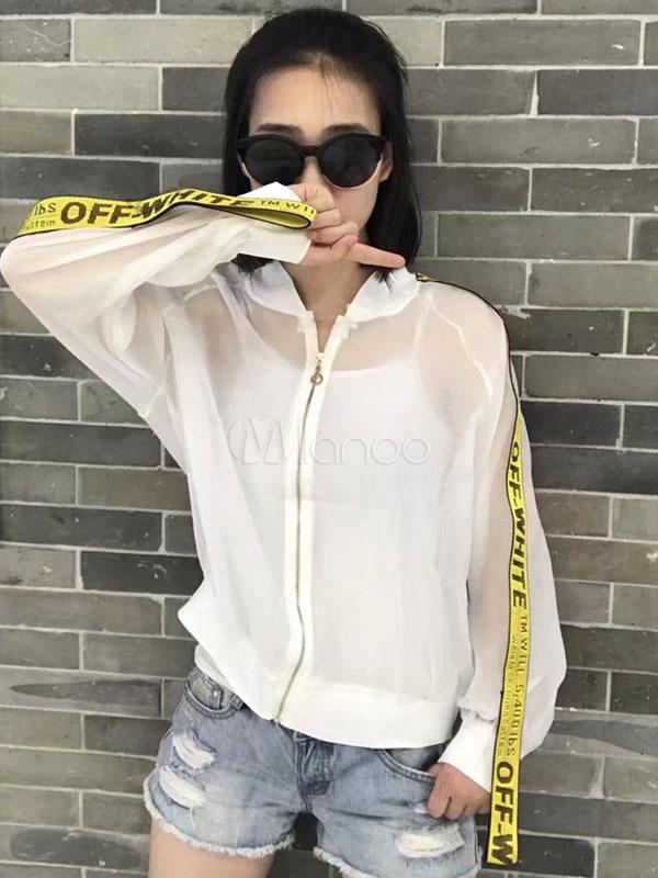 Buy Women's Black Jacket Stand Collar Long Sleeve Sheer Sun Proof Short Bomber Jacket for $18.99 in Milanoo store