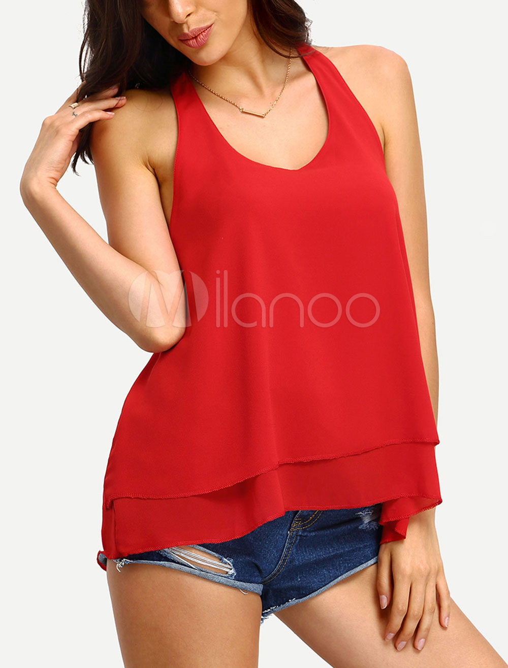 Chiffon Red Tanks Women's U Neck Sleeveless Backless Tiered Casual Top
