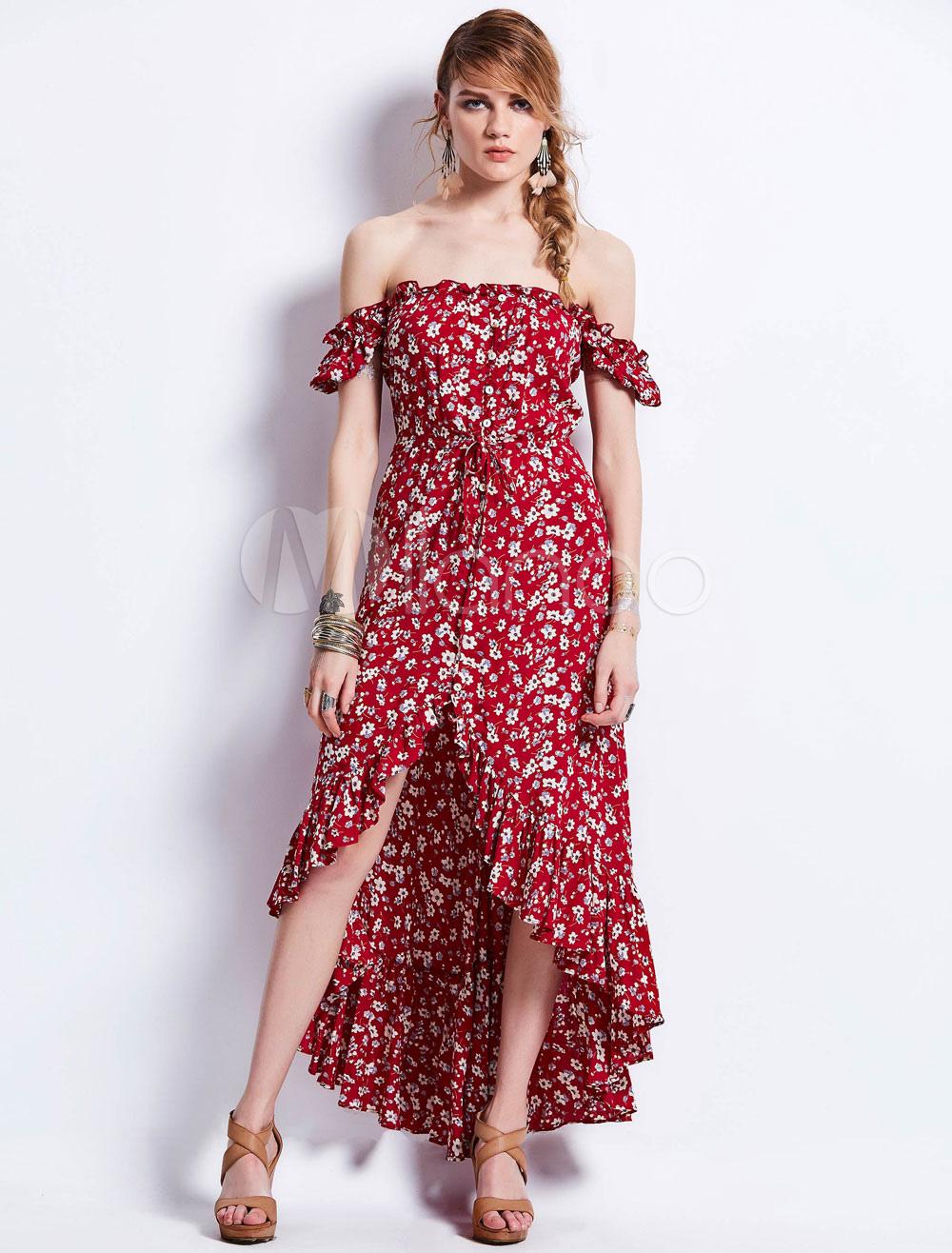 ... Vestito lungo borgogno in chiffon senza spalline maniche corte  annodature stampa floreale con fondo asimmetrico donna. 1. -20%.  colore Bordeaux 618d5ad2673