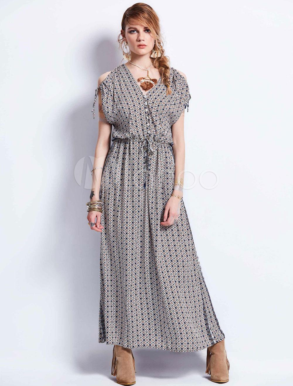 16712fdfa9ee Brown Maxi Dress V Neck Cold Shoulder Short Sleeve Floral Print Low ...