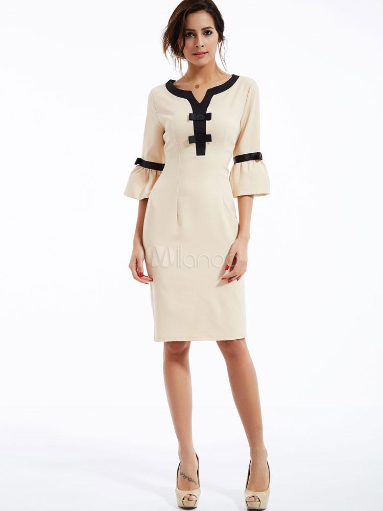 c8856c6e3 Vestido para mujer Bodycon Ecru Vestido blanco con cuello en V de manga  corta-No ...