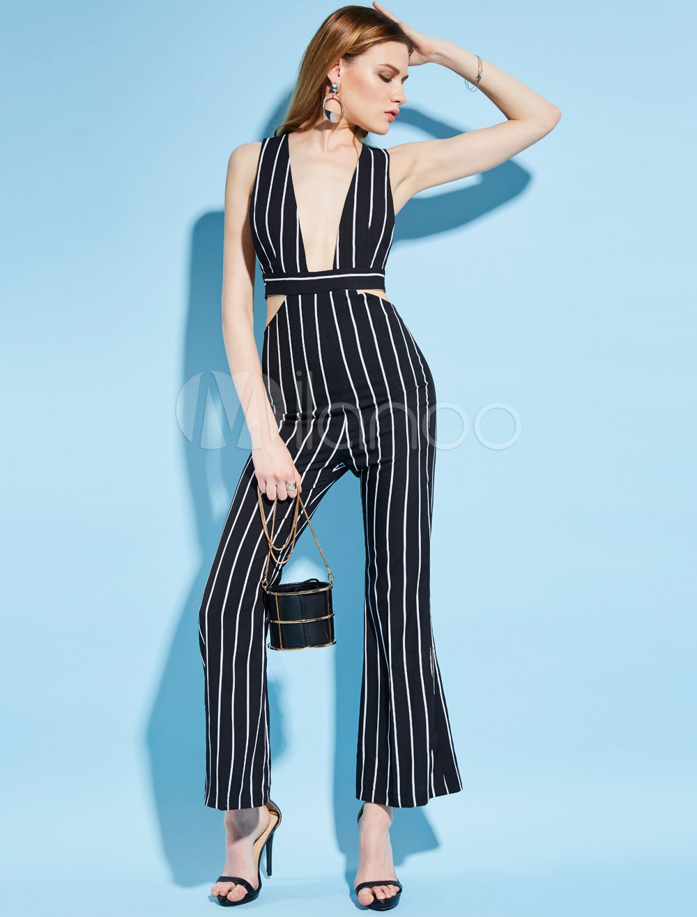 Buy Blue Long Jumpsuit Plunging Neck Sleeveless Cut Out Striped Backless Flared Leg Women's Summer Jumpsuit for $39.99 in Milanoo store