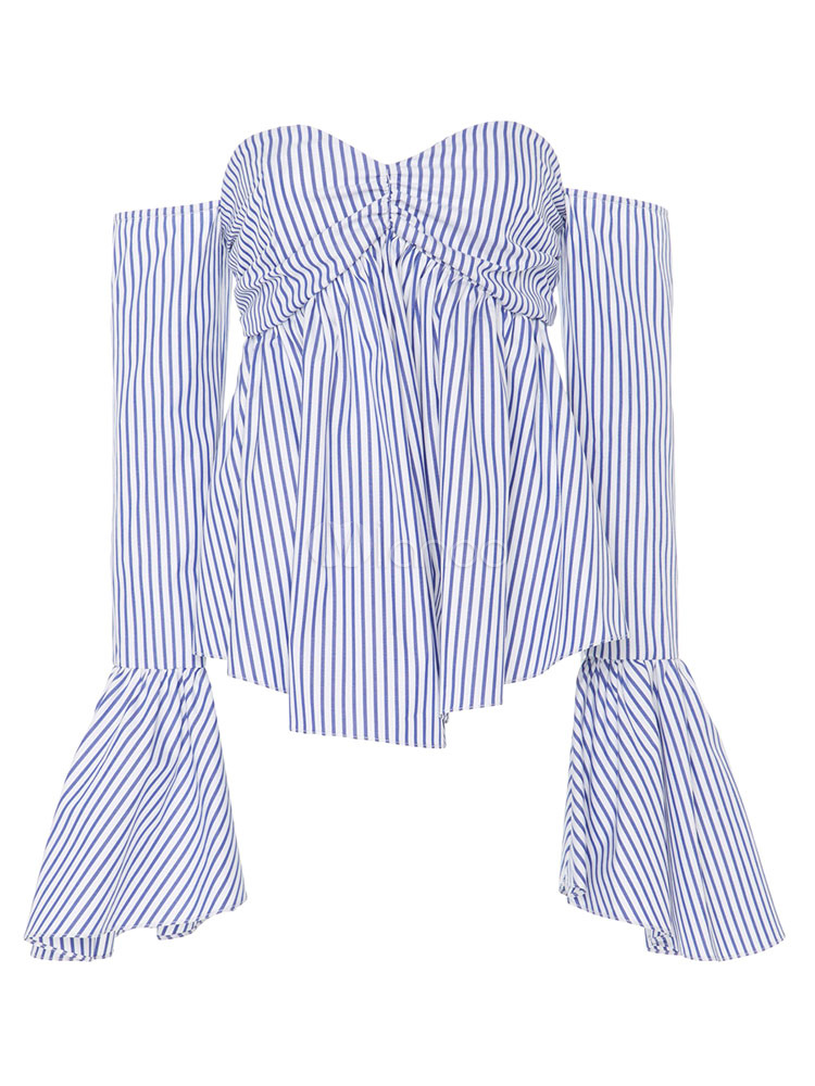 Buy Women's Blue Blouses Off The Shoulder Bell Sleeve Sweetheart Neck Ruffled Shirt Top for $23.74 in Milanoo store